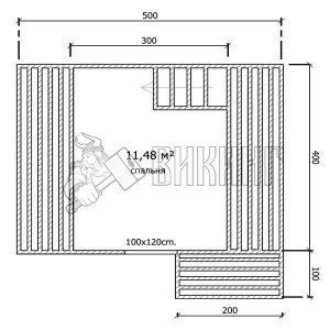 Деревянный дом 5x4 Гамма-7 (План мансарды)