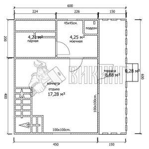 Баня 6x6 Б-14 (План 1-го этажа)
