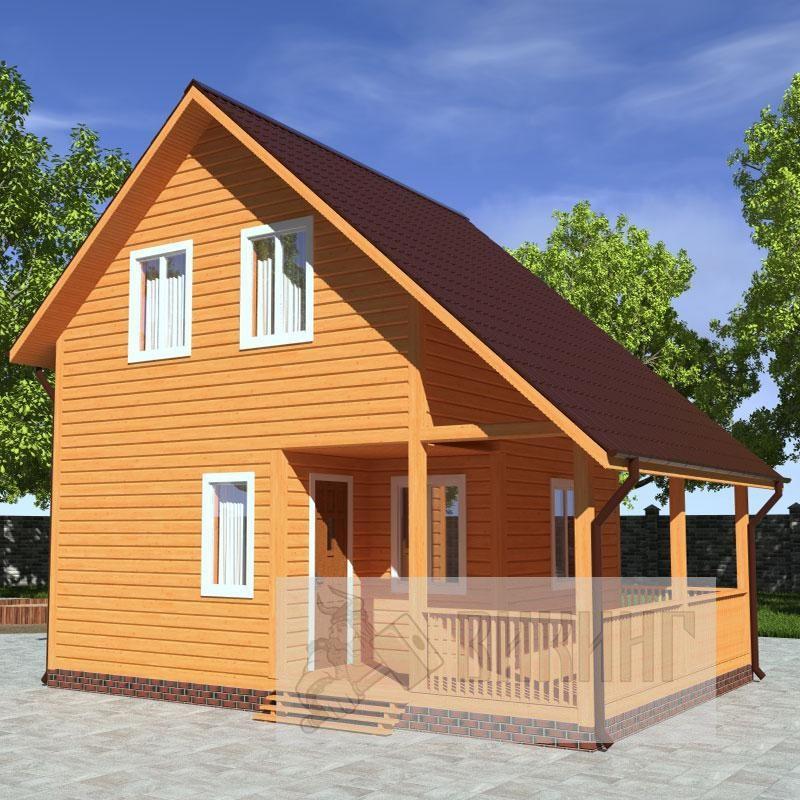 Каркасный дом полтора этажа 6х8
