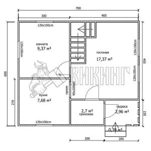 Деревянный дом 6,5x7 Гамма-9 (План 1-го этажа)