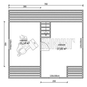Деревянный дом 6,5x7 Гамма-9 (План мансарды)