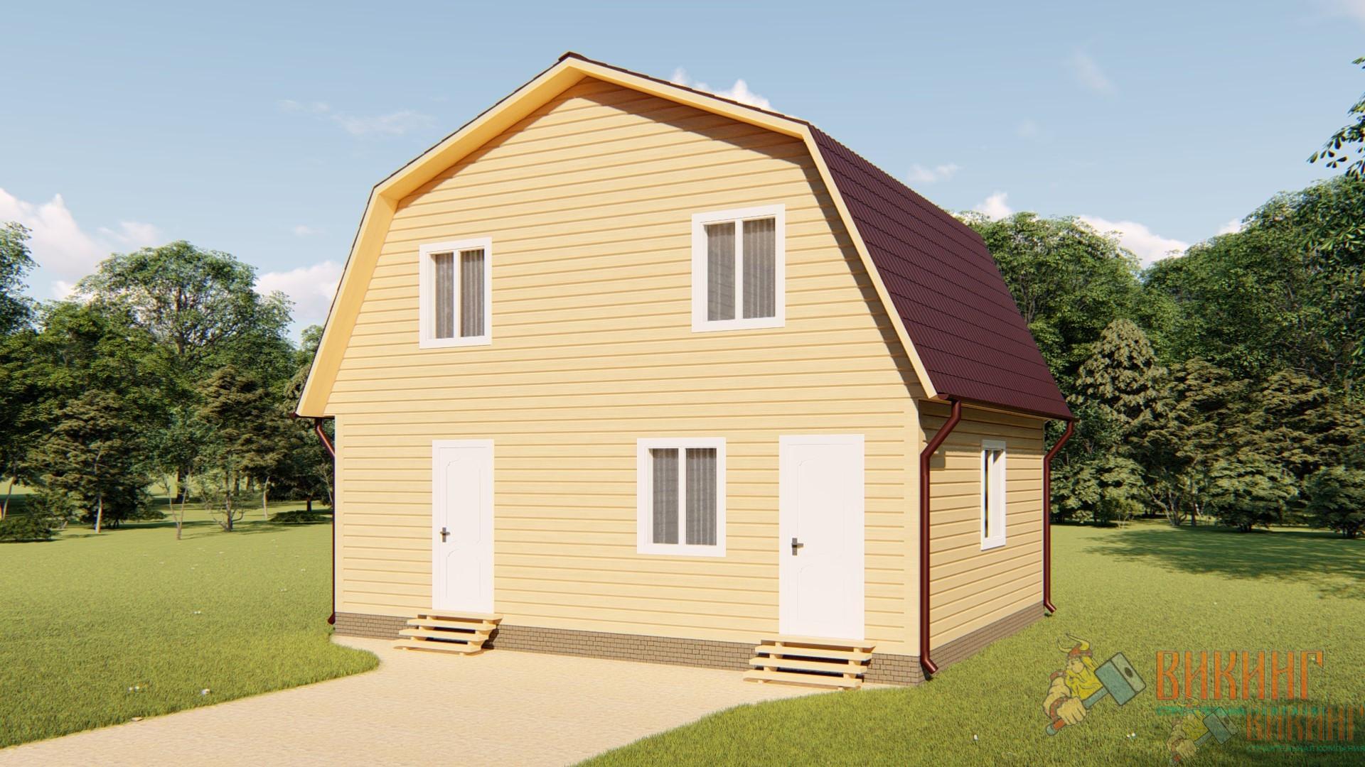 Каркасный дом с мансардным этажом 6х8