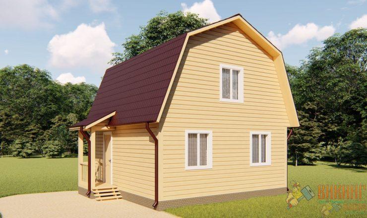 Каркасный дом с мансардным этажом 6х6