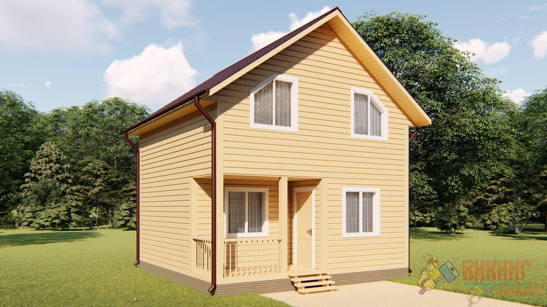 Каркасный дом полтора этажа 6х6