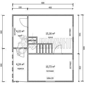 Деревянный дом 6x6 Гамма-16 (План 1-го этажа)