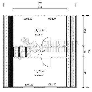 Деревянный дом 6x6 Гамма-16 (План мансарды)