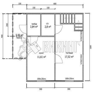 Деревянный дом 6x6 Гамма-17 (План 1-го этажа)