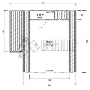 Деревянный дом 6x6 Гамма-17 (План мансарды)