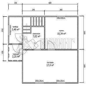Деревянный дом 6x6 Гамма-19 (План 1-го этажа)