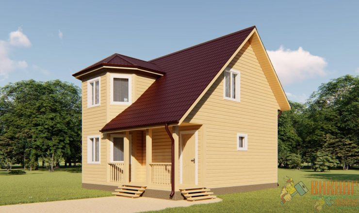 Каркасный дом полтора этажа 7х8