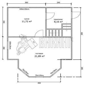 Деревянный дом 6x6 Гамма-20 (План 1-го этажа)