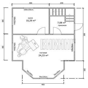 Деревянный дом 6x6 Гамма-21 (План 1-го этажа)