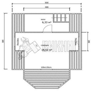 Деревянный дом 6x6 Гамма-21 (План мансарды)