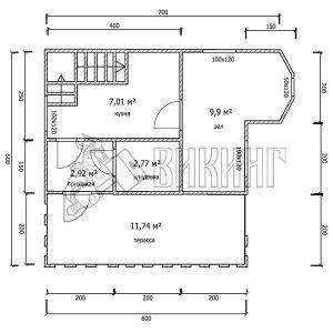Деревянный дом 6x6 Гамма-22 (План 1-го этажа)