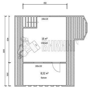 Деревянный дом 6x6 Гамма-22 (План мансарды)