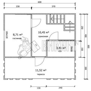 Деревянный дом 6x6 Гамма-23 (План 1-го этажа)