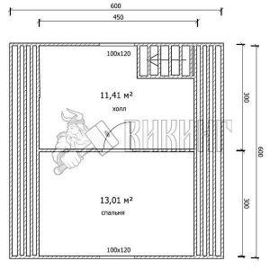 Деревянный дом 6x6 Гамма-23 (План мансарды)