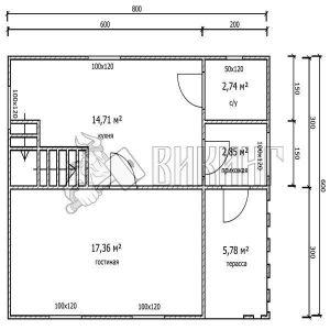 Деревянный дом 6x8 Гамма-26 (План 1-го этажа)