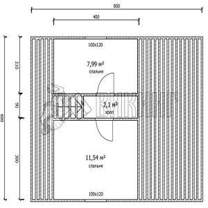 Деревянный дом 6x8 Гамма-26 (План мансарды)