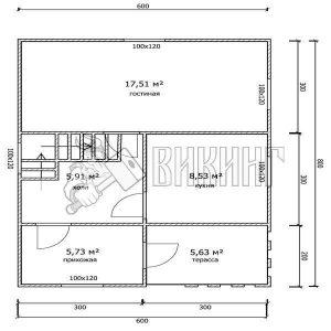 Деревянный дом 6x8 Гамма-27 (План 1-го этажа)