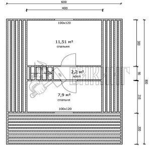 Деревянный дом 6x8 Гамма-27 (План мансарды)