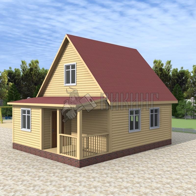 Деревянный дом 6x8 Гамма-27