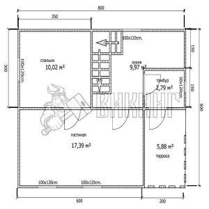 Деревянный дом 6x8 Гамма-42 (План 1-го этажа)