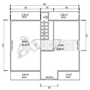 Деревянный дом 6x8 Гамма-42 (План мансарды)
