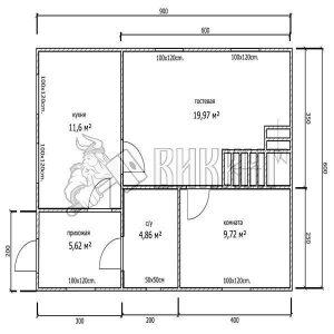 Деревянный дом 6x9 Гамма-28 (План 1-го этажа)