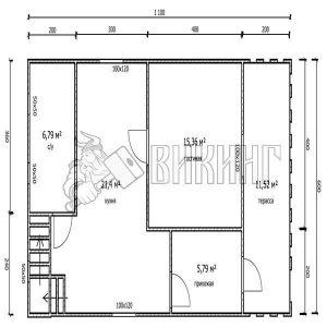 Деревянный дом 6x11 Гамма-30 (План 1-го этажа)