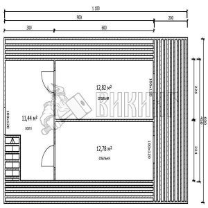 Деревянный дом 6x11 Гамма-30 (План мансарды)