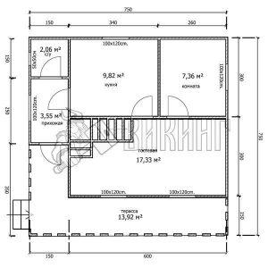 Деревянный дом 7,5x7,5 Гамма-31 (План 1-го этажа)