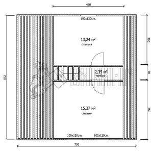 Деревянный дом 7,5x7,5 Гамма-31 (План мансарды)