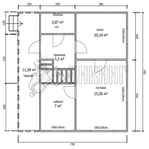 Деревянный дом 7,5x7,5 Гамма-32 (План 1-го этажа)