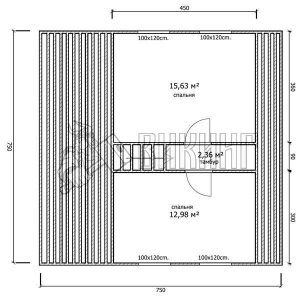 Деревянный дом 7,5x7,5 Гамма-32 (План мансарды)