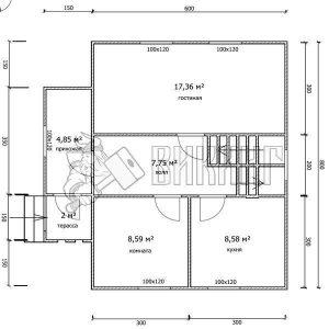 Деревянный дом 7,5x8 Гамма-33 (План 1-го этажа)