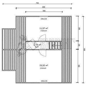 Деревянный дом 7,5x8 Гамма-33 (План мансарды)