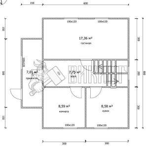 Деревянный дом 7,5x8 Гамма-34 (План 1-го этажа)