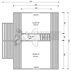 Деревянный дом 7,5x8 Гамма-34 (План мансарды)