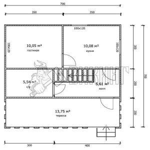 Деревянный дом 7x7 Гамма-35 (План 1-го этажа)