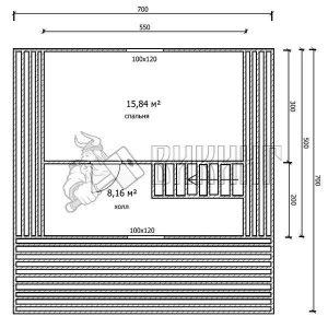 Деревянный дом 7x7 Гамма-35 (План мансарды)