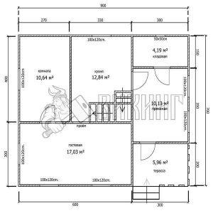 Деревянный дом 7x9 Гамма-37 (План 1-го этажа)