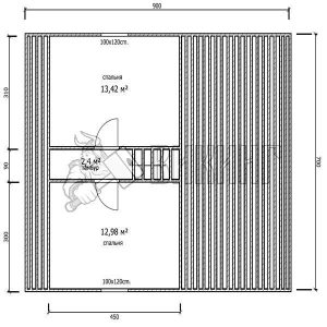 Деревянный дом 7x9 Гамма-37 (План мансарды)