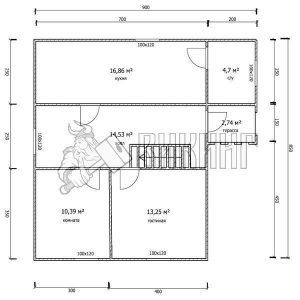 Деревянный дом 8,5x9 Гамма-38 (План 1-го этажа)