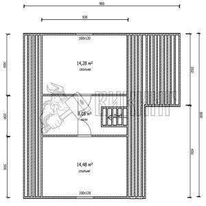 Деревянный дом 8,5x9 Гамма-38 (План мансарды)