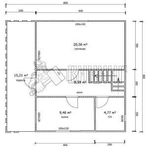 Деревянный дом 8x8 Гамма-39 (План 1-го этажа)