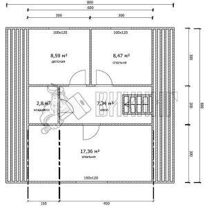 Деревянный дом 8x8 Гамма-39 (План мансарды)