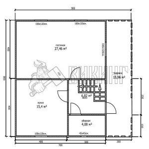 Деревянный дом 8x9 Гамма-40 (План 1-го этажа)