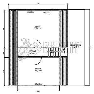 Деревянный дом 8x9 Гамма-40 (План мансарды)
