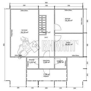 Деревянный дом 9x9 Гамма-41 (План 1-го этажа)